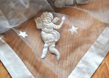 Lovely Angel Star Applique Embroidery Sheer Border Silver Grey Table Cloth