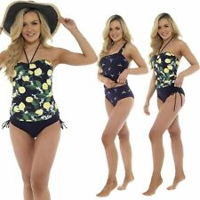 Ladies Womens Tropical Bird Lemon Print Tankini Swimsuit Swimming Set 10-22