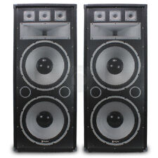 """2x Vonyx 2 x 15"""" Dual TX215 Passive Speakers Bass Large PA EVENT 1500W UK Stock"""