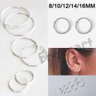 Elegant 925 Sterling Silver Hoop Earrings for Women Men Jewelry 8 10 12 14 16MM