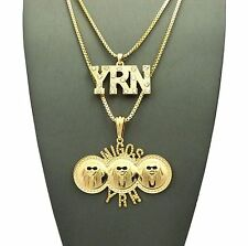 "Men Hip Hop Iced Out YRN, MIGOS Pendant 24"",30"" Box Chain 2 Necklace Set RC1480"