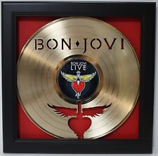 Bon Jovi LP Framed Laser Cut Gold Plated Vinyl Record Shadowbox Wallart