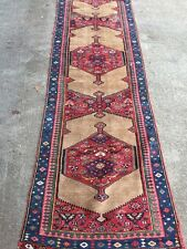 "Antique Caucasian Oriental Runner Rug 3'6""x10' Carpet w/ Geometric Motifs BEAUTY"