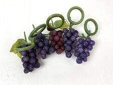 Pier 1 Beaded Fruit Grapes Napkin Rings Holders Set of 5 Tablescape Decor