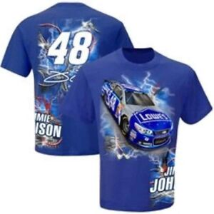 2015 Jimmie Johnson #48 Lowes Hot Wired Blue Cotton Tee Shirt Extra Large