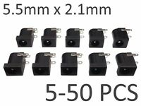 5-50 pcs Black 5.5mm x 2.1mm DC Power Barrel Jack Socket - PCB Mount Connector