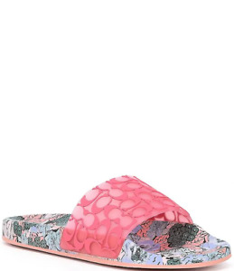 COACH Udele Sport Pool Slides Orchid Floral Women's Size 9 NEW IN BOX