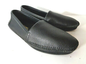 MINNETONKA MOCCASIN US 6M Black Leather Slip On Shoes