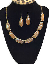 MIXIT Jewelry Gold Necklace And Earrings Set Amber Color Beautiful