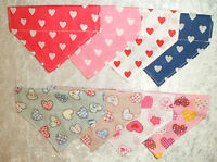 Heart  Dog Bandana Valentines day Slide On Over Collar  Pet Dog Cat size XXS - L