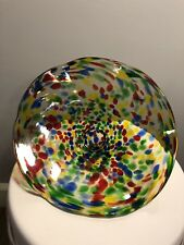 Handmade Artisan Colorful Clear Glass Bowl OOAK