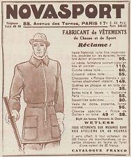 Z8477 NOVASPORT vetements pour la chasse - Pubblicità d'epoca - 1935 Old advert