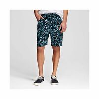 NEW Mossimo Men's Knit Shorts Leaf Print - Navy - Size: Large