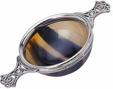 """Scottish Quaich Natural Horn Celtic Wiring 4"""" Polished Cup of Friendship"""