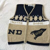 Vintage N Dame Fighting Irish Belle Pointe Sweater Vest SZ S metallic gold  F 41