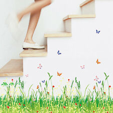Natural Scenery Wall Sticker Removable Butterfly & Grass Mural Decal Room Decor