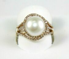 Natural Freshwater Pearl & Diamond Solitaire Lady's Ring 14k Rose Gold 10mm