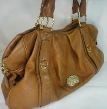 Authentic Burberry Bowling Tote Leather Tan Brown Large Handbag Purse