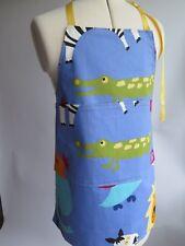 Childs Animal Apron Zoo Jungle Adjustable Bright Blue Boy Girl Handmade Yellow