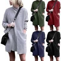 Women Ladies Baggy Sweater Jumper Mini Dress Winter Long Pullover Top Pockets XL