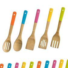Premier Housewares 5pc Bamboo Kitchen Utensil Set Assorted Coloured Handles