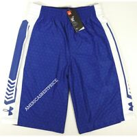 UNDER ARMOUR NEW MEN'S BASKETBALL SHORTS HEATGEAR BLUE/WHITE LOOSE FIT - M  L