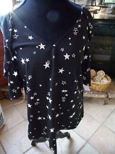 Dee Elly Size Small S Cold Shoulder Blouse Black with Stars Top NEW NWOT