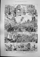 Antique Old Print Apprentices Exhibition Peoples Palace Beechams Pills 1887