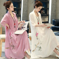 Chinese Women's Embroidery Flowers Retro Cotton Dress Loose A Ball Gown Muk15