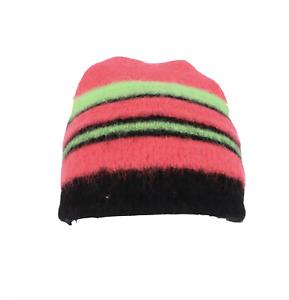 Vintage 80s Streetwear Womens Small Neon Striped Wool Winter Beanie Hat Cap