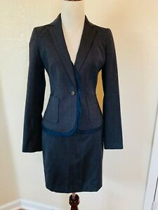 Banana Republic Navy Blue Gray Wool Skirt Suit 4 S