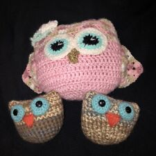 """Hand Crocheted Owl Pillows Lot of 3 One Pink 10""""x9"""" Two Brown 5"""" USA Artisan"""