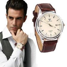 Herren Blue Ray Glass Armbanduhren Leder Quartz Uhr Analog Business Wrist Watch