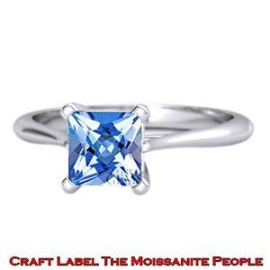 3 Ct Princess Cut Blue Topaz 14K Gold Solitaire Engagement Ring