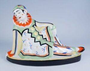 Antique 1920s/30s Czech Art Deco Art Pottery Reclining Pierrot Clown Figurine