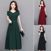 Ladies Dress Women's Holiday Round Neck Retro Dress Vintage Formal A Line