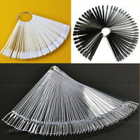 50Pcs Nail Art False Tips Sticks Polish Practice Display Fan Board Design Tool