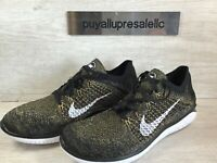 Men's Nike Free RN Flyknit 2018 Running Shoes Black/Club Gold 942838-005 Size 11