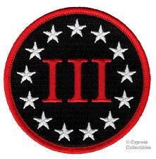 THREE PERCENTER IRON-ON PATCH embroidered III 3% SECOND AMENDMENT GUN EMBLEM new