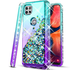 For Motorola One 5G Ace Case, Glitter Bling Cover + Tempered Glass Protector