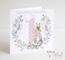 PERSONALISED PETER RABBIT FLOPSY Birthday Card - Child's Girls 1 2 3 4 5 6