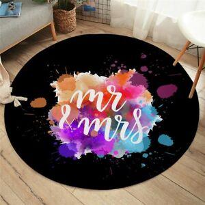 Mr Mrs Abstract Love Art Black Round Rug Carpet Mat Living Room Bedroom