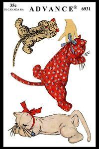Advance #6931 Fabric Sewing Pattern Sleeping Kitten CAT Kitty Stuffed Animal Toy