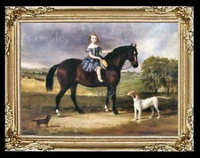 Horse Girl & Puppies Miniature  Dollhouse Picture