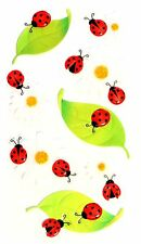 Ladybugs and Vellum Daisy Flowers Leaves Daisies Summer Jolees 3D Stickers