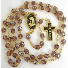Damascene Gold Rosary Cross Virgin Mary Purple Beads by Midas of Toledo 8600