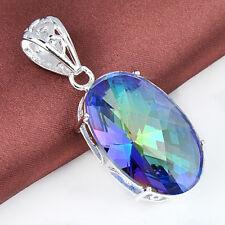 Impeccable Jewelry Mystical Rainbow Fire Topaz Gems Silver Pendant 88CT HL0090