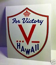 Hawaii for Victory, Vintage Style WWII Travel Decal, Vinyl Sticker,Luggage Label