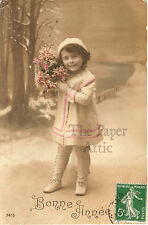 Cute Little Girl in White Coat Snow Scene Antique French Tinted Photo Postcard