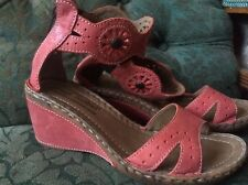 JOSEF SEIBEL SALMON PINK LEATHER SANDALS / SHOES WITH ORNATE ANKLE STRAP SIZE 4